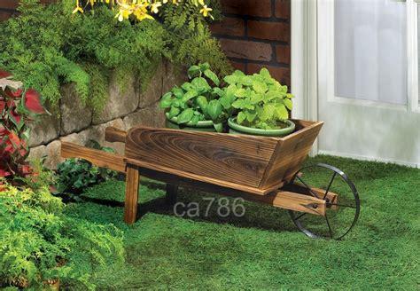 wood farm garden wheelbarrow flower pot planter cart ebay