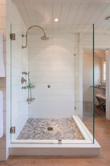 shiplap   shower pretty bathrooms pinterest pebble floor    glasses