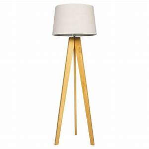 buy tesco tripod floor lamp light natural linen shade With wooden tripod floor lamp the range