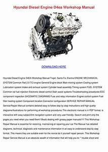 Hyundai Diesel Engine D4ea Workshop Manual By Marisol