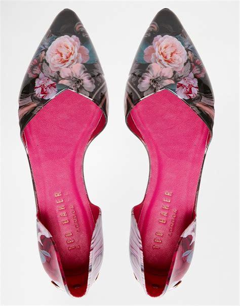 ted baker rikyu floral print dorsay ballet flat shoes lyst