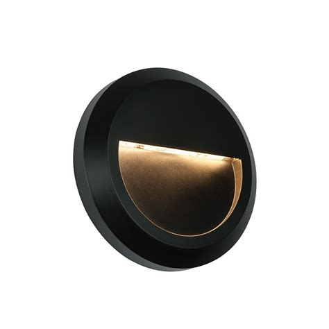 severus round exterior black wall light ip65 61221