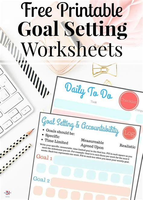free printable goal setting worksheets organized 31