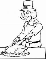 Thanksgiving Coloring Pages Pilgrim Printable Dinner sketch template