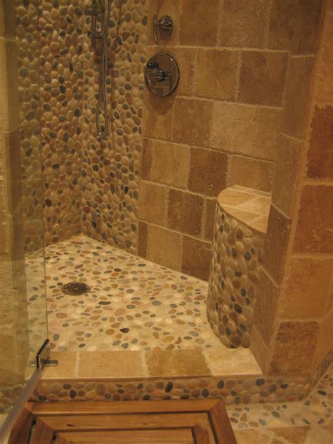 island pebble bathroom design rustic wall and