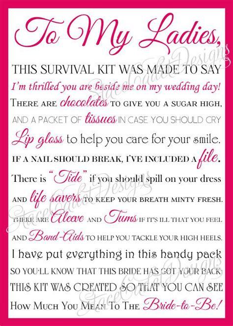 bridesmaid survival kit poem weddings pinterest
