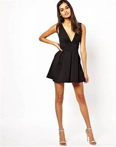 oh my love skater dress with v neck in pink lyst With robe noire col v