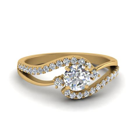 radiance gold cut swirl 3 engagement ring in 18k