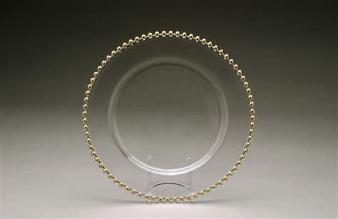 Signature Party Rentals   Clear Gold Beaded Glass 13