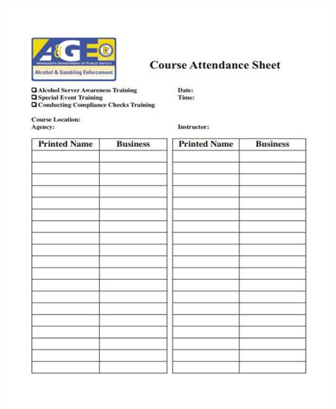 training sheet templates  sample  format