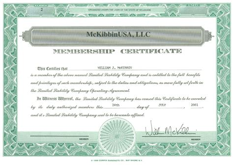 llc membership certificate template the vantage point the best investment