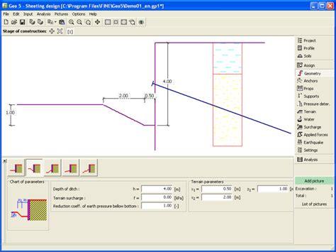 wall design software sheeting design geo5 geotechnical design software