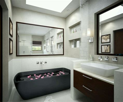 Beautiful Black Bathtub Also Large Wall Mirror Design And