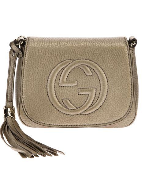 lyst gucci small shoulder bag  metallic