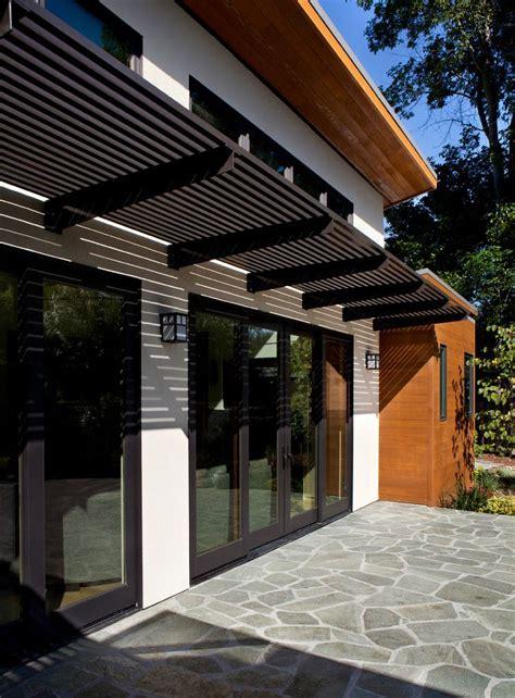 aluminum pergola exterior modern black trim cedar wood clean doors patio house exterior