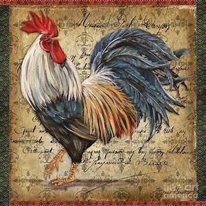 Proud Rooster-D Print by Jean Plout