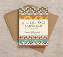 rustic save the date free printable bohemian aztec ikat wedding invitation and