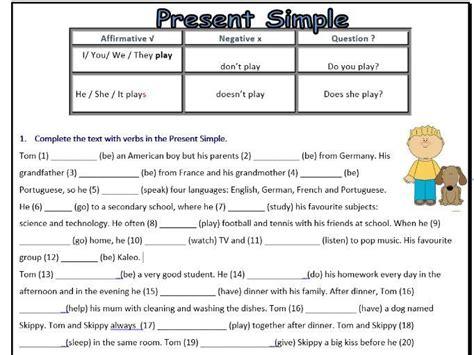 present simple worksheet esl affirmative negative