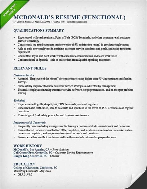 Functional Resume by Functional Resume Objective Exles Colbro Co