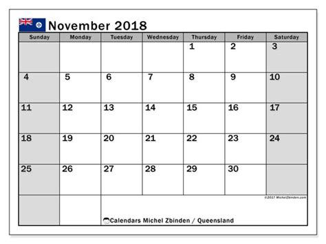 calendar november  queensland michel zbinden en