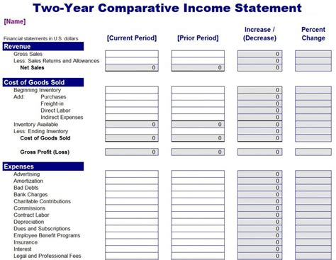 income  expense statement template spreadsheet