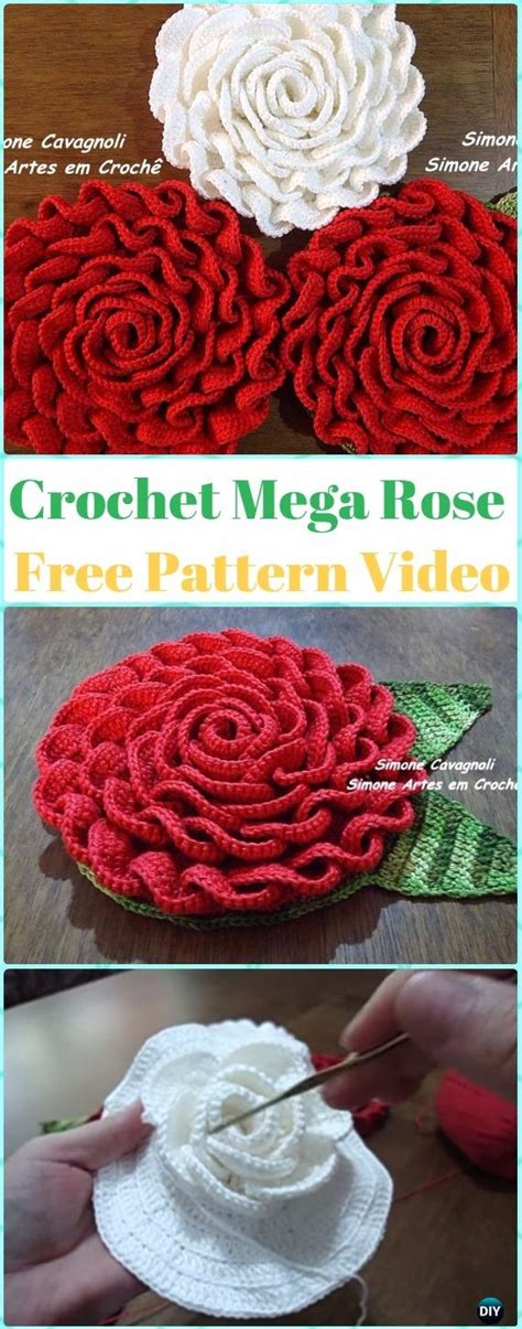 crochet  rose flowers  patterns tutorials
