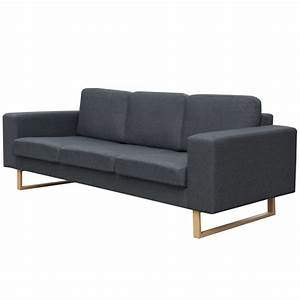 Sofa Relaxfunktion Günstig : vidaxl 3 sitzer sofa stoff dunkelgrau g nstig kaufen ~ Markanthonyermac.com Haus und Dekorationen