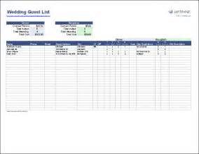 Wedding Spreadsheets Free Wedding Guest List Template
