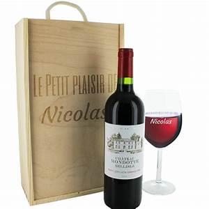 Customiser Une Bouteille De Vin : coffret bouteille de vin et verre grav s texte une id e ~ Zukunftsfamilie.com Idées de Décoration