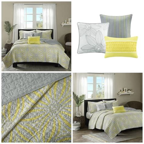 Yellow Quilts And Coverlets by King Size Yellow Gray Floral Quilt Coverlet Bedding Set 6