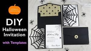 Diy halloween invitation card cobweb invitations using for Cricut wedding invitations youtube