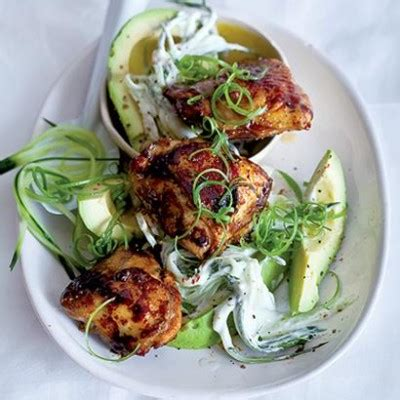 sticky chicken thighs  avocado  cucumber  dill