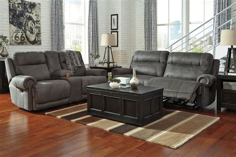 austere gray reclining living room set ashley