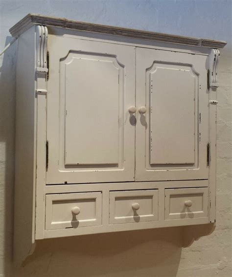 vintage chic  white antique effect wall cabinet shabby