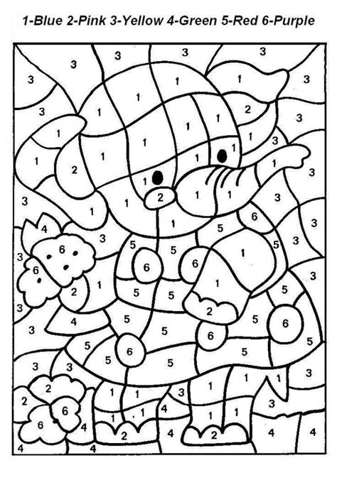 printable color  number coloring pages