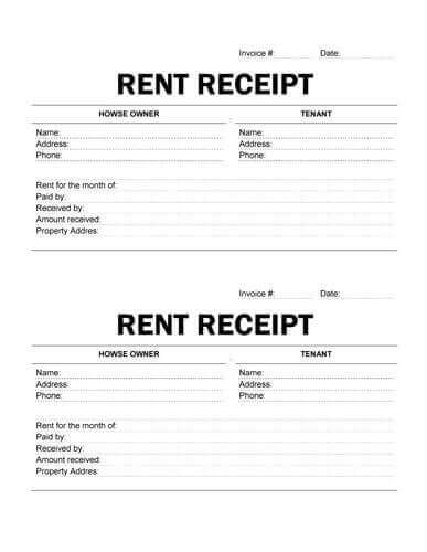 landlord rent receipt template printable receipt template