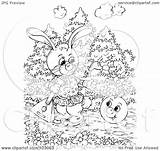 Coloring Outline Rabbit Royalty Clipart Illustration Alex Watching Ball Happy Bannykh Rf sketch template