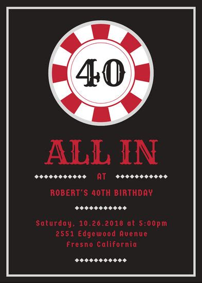 poker chip casino birthday party invitation templates