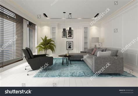 comfortable modern white living room interior stock
