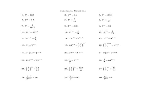 algebra 2 worksheet solving exponential equations answers