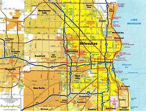 Highways and roads map of Milwaukee cityFree maps of US.