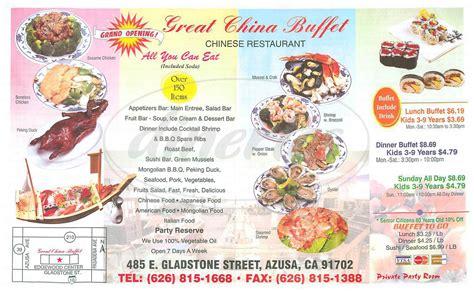 Great China Buffet Menu Azusa Dineries