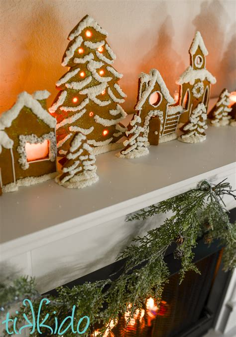 gingerbread town candle holders christmas mantel tutorial