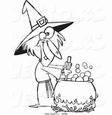 Witch Coloring Stirring Potion Cartoon Outlined Warted Toonaday sketch template