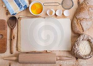 Baking Background With Blank Cook Book, Eggshell, Flour
