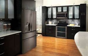 lg black stainless steel appliances moderne cuisine With kitchen cabinets lowes with saint maclou papier peint