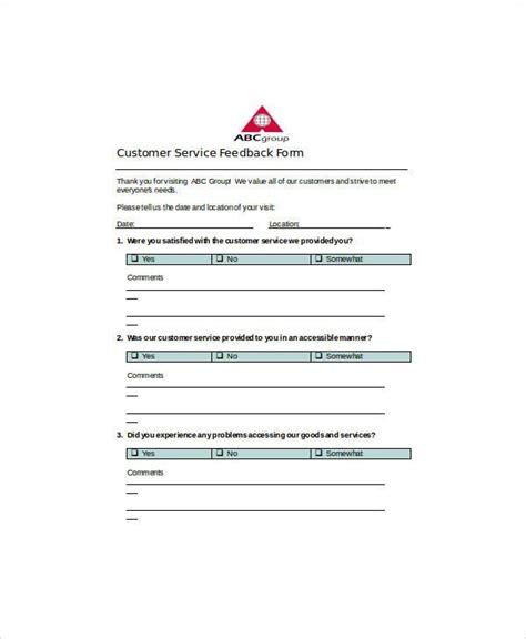 customer feedback form templates   xlsx docs