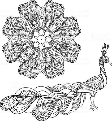 vector tribal decorative peacock  mandala stock vector
