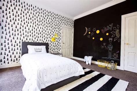 modern black  white kids bedroom  bright splashes