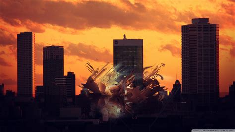 sunset abstract city  hd desktop wallpaper   ultra